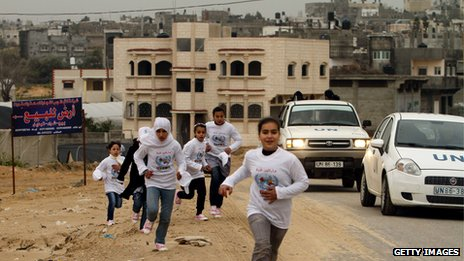 Children running part of the Gaza marathon