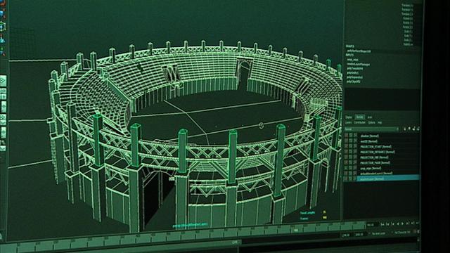 Computer image of amphitheatre design process
