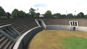 CGI recreation of the Roman amphitheatre at Caerleon, near Newport