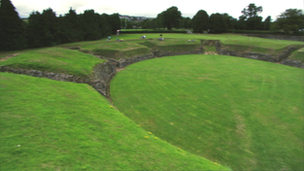 Ruins of Roman amphitheatre at Caerleon, Newport