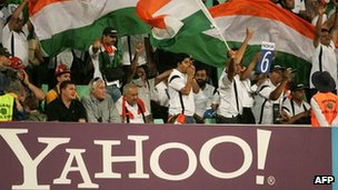A Yahoo banner at an India cricket match