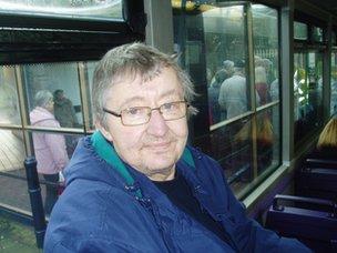 Geoffrey Harris on the bus to Swansea