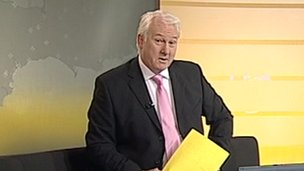 Peter Rowell reading news on ITV