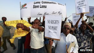 Residents and environmental activists participate in a demonstration against the construction of the proposed Lamu port on Lamu Island, Kenya, 1 March 2012