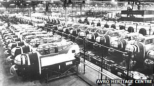 Rows of Lancaster bombers being built at Chadderton