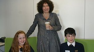 School Reporters Sophie and Greg with children's author Francesca Simon