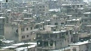 Syrian TV footage of Baba Amr, 2 Mar 2012