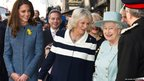 Catherine, Duchess of Cambridge, Camilla, Duchess of Cornwall and Queen Elizabeth II depart after visiting the Fortnum And Mason Store in London