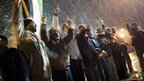 Free Syrian Army supporters chant anti-government slogans under snowfall on the outskirts of Idlib, north Syria