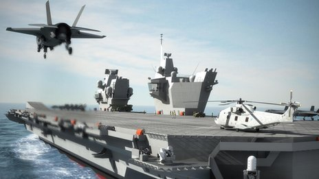 Computer generated image of Queen Elizabeth Class aircraft carrier 