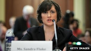 Sandra Fluke, a third-year law student at Georgetown University testifies during a hearing before the House Democratic Steering and Policy Committee in Washington, DC 23 February 2012