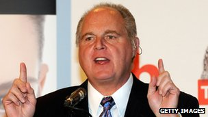 Rush Limbaugh in a press conference for the 2010 Miss America Pageant 27 January, 2010 in Las Vegas, Nevada.