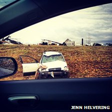 A photo of destruction near Henryville, Indiana