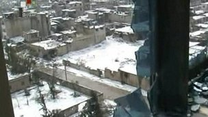 Syrian state TV images of Homs, 2 March