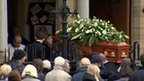Coffin being taken into church at Frank Carson's funeral