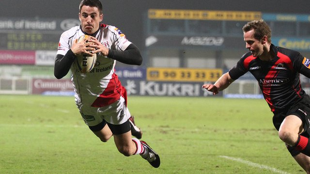 Ian Humphreys scores a try for Ulster against Edinburgh  