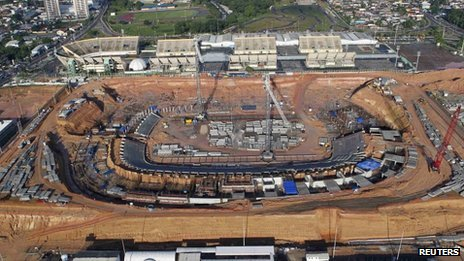 Arena da Amazonia Stadium, under construction in Manaus, 2 March