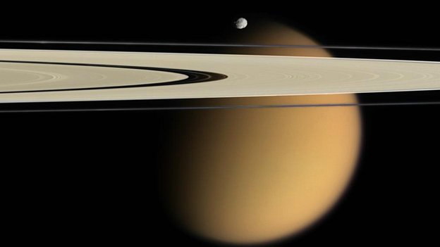 Titan, Saturn's rings and Epimetheus    Nasa/JPL/Space Science Institute