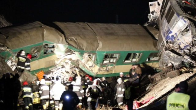 Train crash in Poland