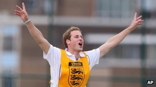 Prince William scoring a goal