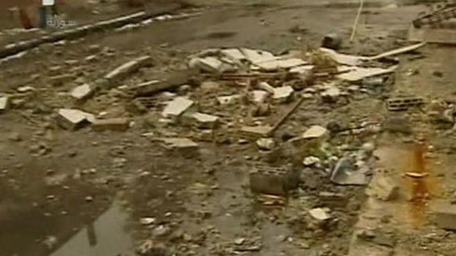 Debris filmed in Homs