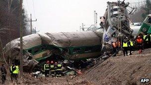 Rescuers work at the scene of a train crash in Szczekociny near Zawiercie (Silesia) in Poland