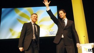 Willie Rennie and Nick Clegg at the Scottish Lib Dem conference