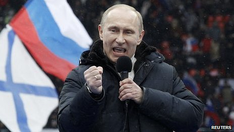 Vladimir Putin addressing an election rally (23 Feb 2012)