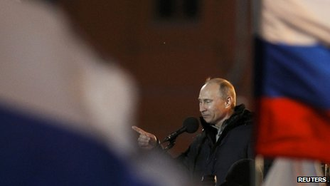Vladimir Putin addresses supporters after claiming victory (4 Mar 2012)