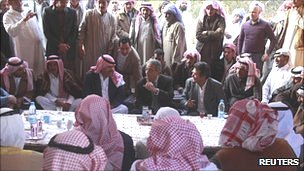 Amr Moussa at outdoor meeting with Bedouin in the underdeveloped South Sinai region in Feb 2012
