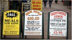 Signs in Weymouth showing discounts