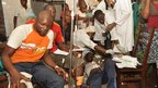 Injured people treated at a hospital in Brazzaville