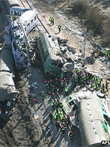 Scene of train crash, 4 Mar 12