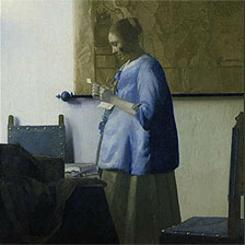 Woman in Blue Reading a Letter by Johannes Vermeer