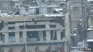 Syrian state TV picture of Homs (2 March 2012)
