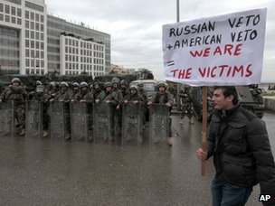 A man protests against the lack of diplomatic action on Syria in the Lebanese capital, Beirut (4 March 2012)