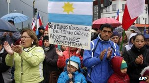 Locals take part in a protest against the government of Chilean President Sebastian Pinera, in Puerto Aysen, Chilean Patagonia, on 4 March 2012.