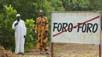 People on the roadside who are from the village of Foro Foro, 30km north of Bouake in the centre of Ivory Coast.