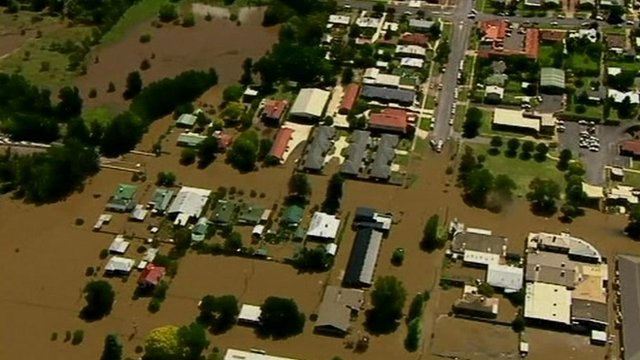 Aerial picture of flooded area