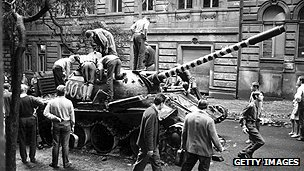Czech wreck a Soviet tank - August 1968