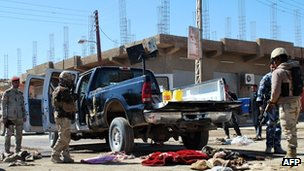 Scene of an attack on police officers in Haditha, Iraq, on 5 March 2012