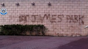 Graffiti at the Newcastle United ground