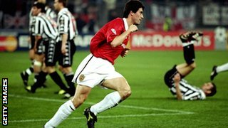 Roy Keane scores for Manchester United against Juventus