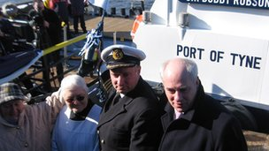 Left to right: Lady Elsie Robson, seafarers' chaplain, Pat Bealing, Harbour Master Mike Nicholson and Andrew Robson