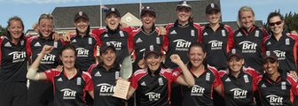 England's women with the one-day series trophy