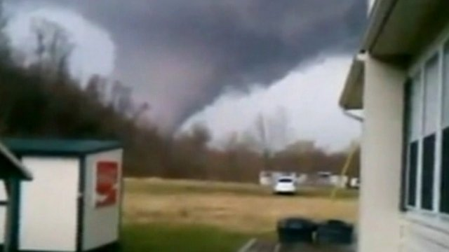Amateur video has emerged of the devastating tornadoes which wreaked havoc ...