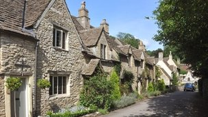 A row of houses in Castle Combe, Wiltshire