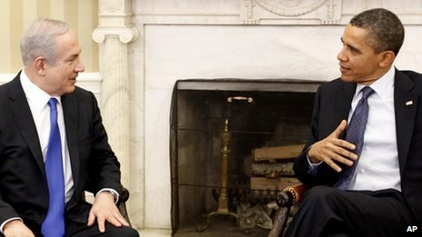 Israeli Prime Minister Benjamin Netanyahu and US President Barack Obama meet in the Oval Office of the White House 5 March 2012