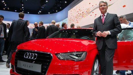 Rupert Stadler, chief executive, Audi, and the firm's new Audi A3