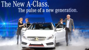 Daimler's chief executive, Dieter Zetsche, unveiling the new Mercedes-Benz A-Class